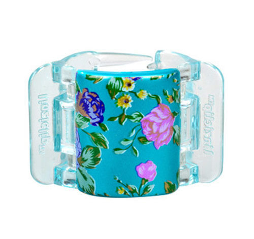 Linziclip Midi Hair Clip Cosmetic 1ks Turquoise Pearl Flowers