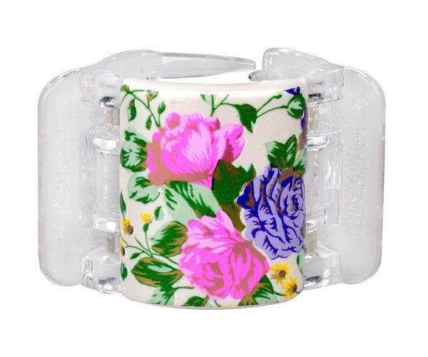 Linziclip Midi Hair Clip Cosmetic 1pc White Pearl Flowers