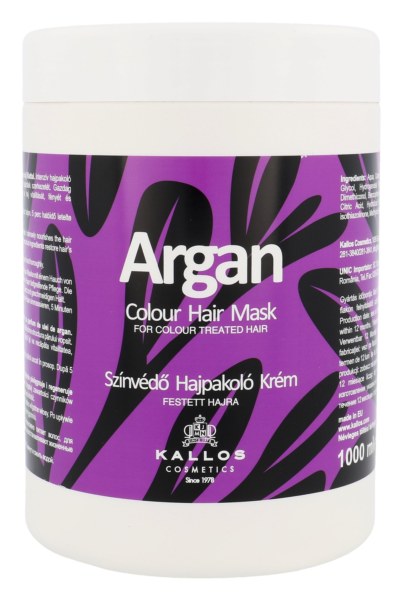 Plaukų kaukė Kallos Argan Colour Hair Mask
