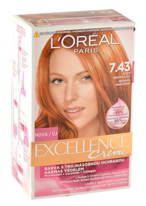L´Oréal Paris Excellence Creme Cosmetic 192ml 7,43 Dark Copper Gold Blonde