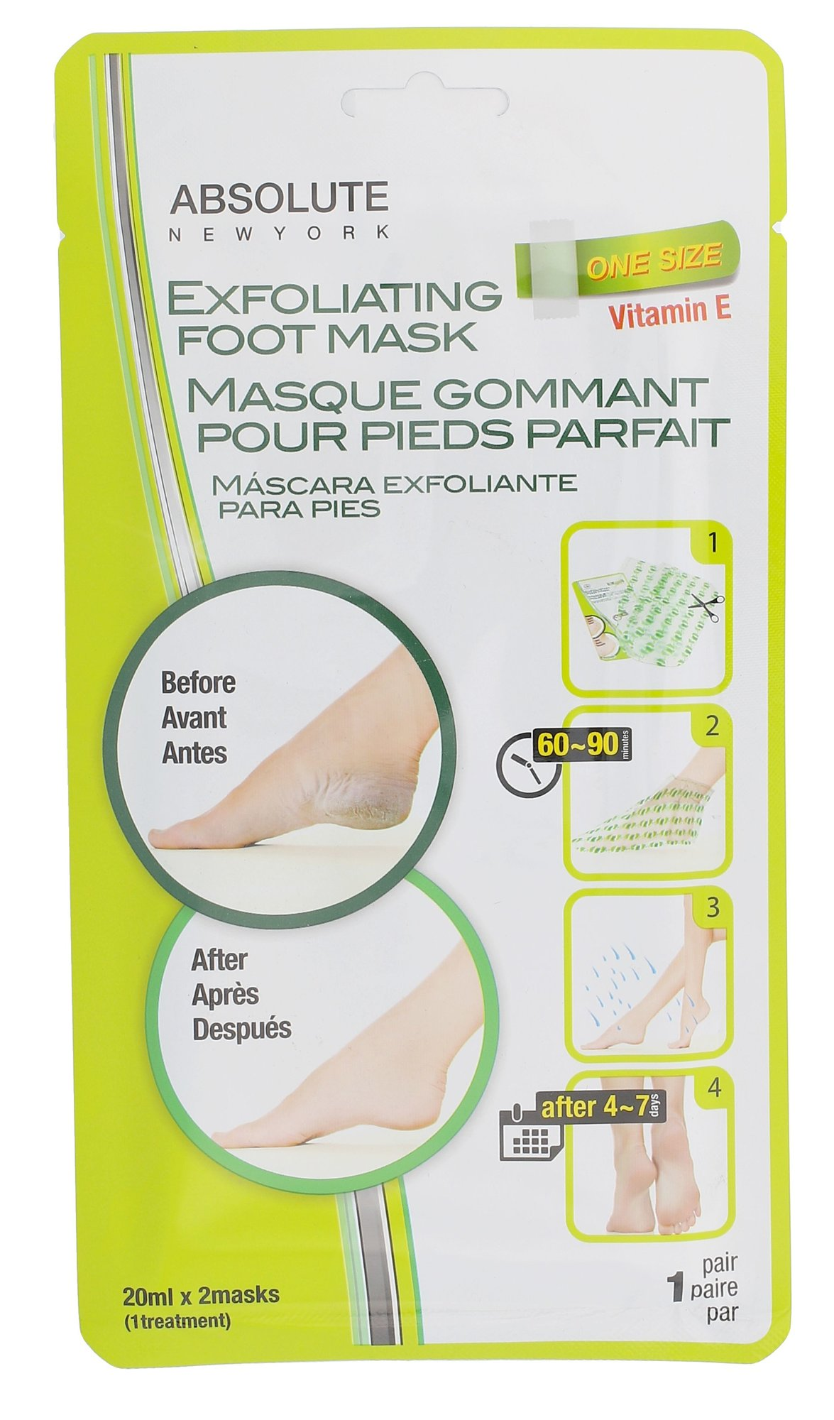 Absolute New York Exfoliating Foot Mask Cosmetic 2x20ml