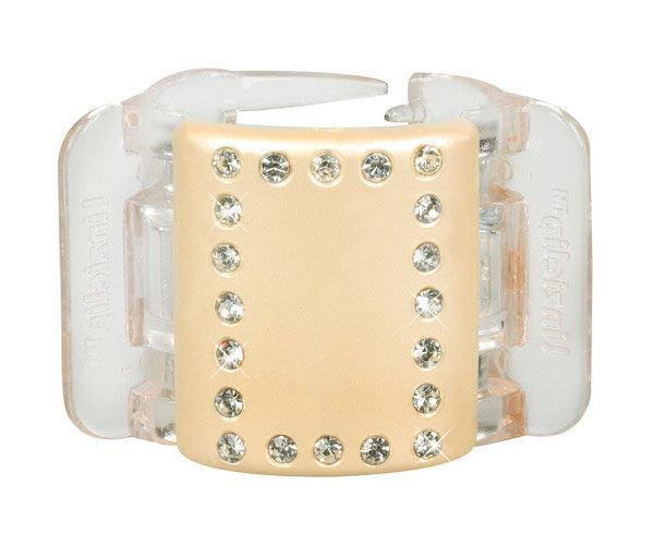 Linziclip Midi Hair Clip Cosmetic 1pc Linen Pearl Crystal