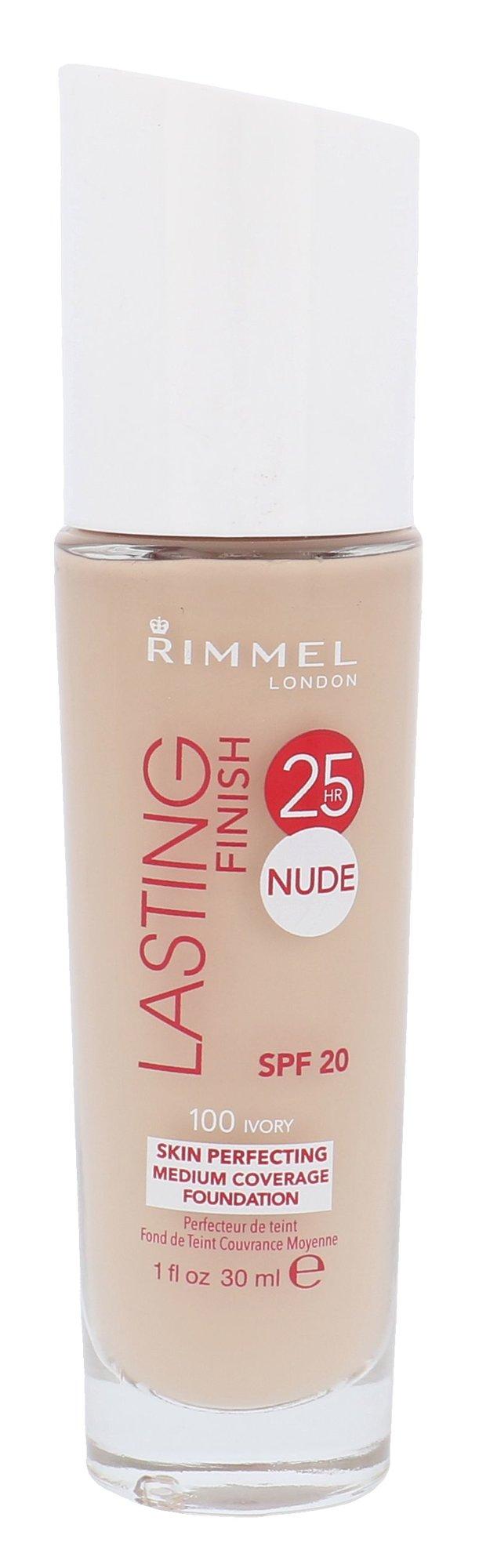 Rimmel London Lasting Finish 25h Nude Foundation Cosmetic 30ml 100 Ivory