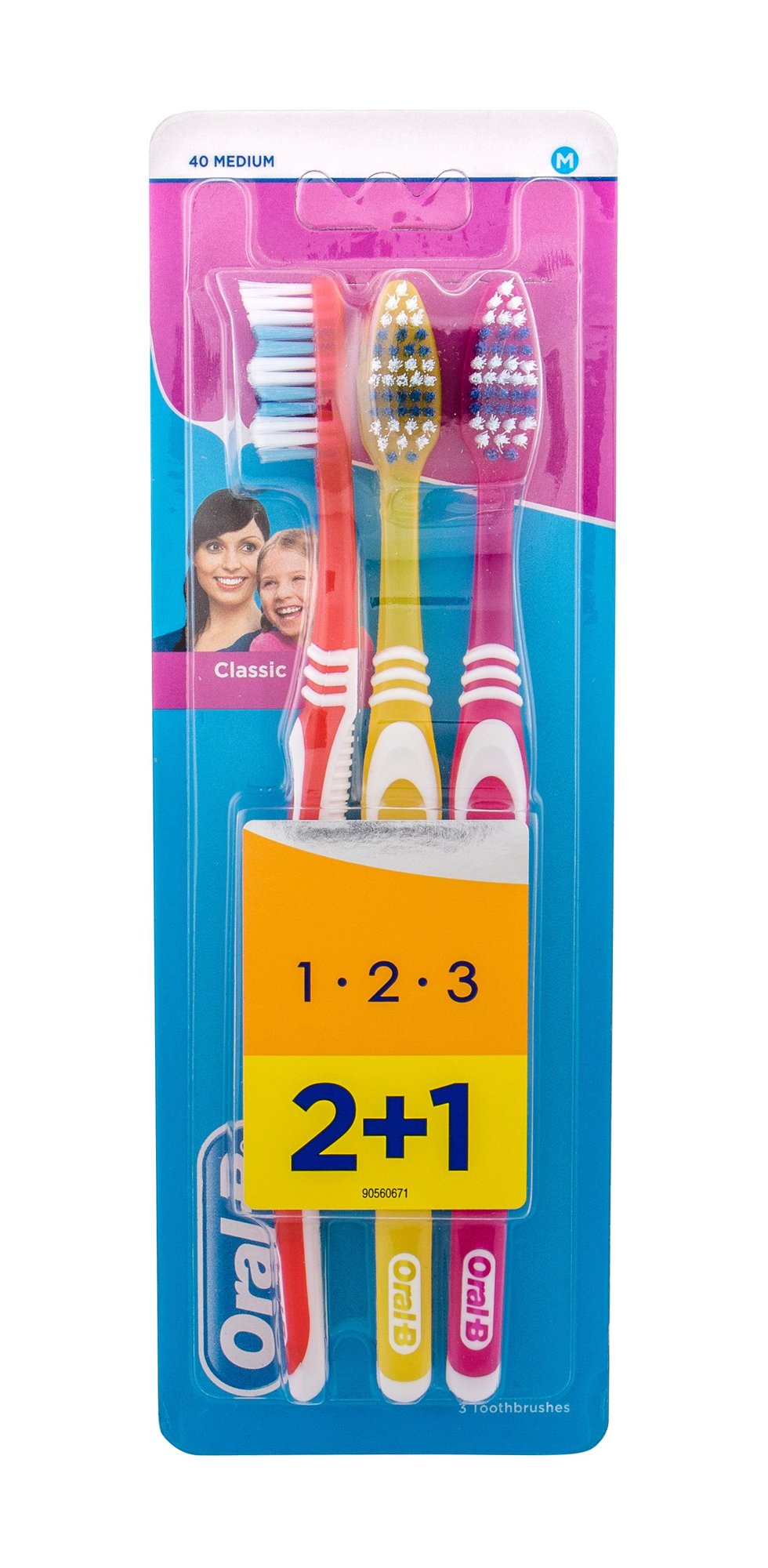 Oral-B Toothbrush Toothbrush 3ml Red, Yellow, Pink Classic