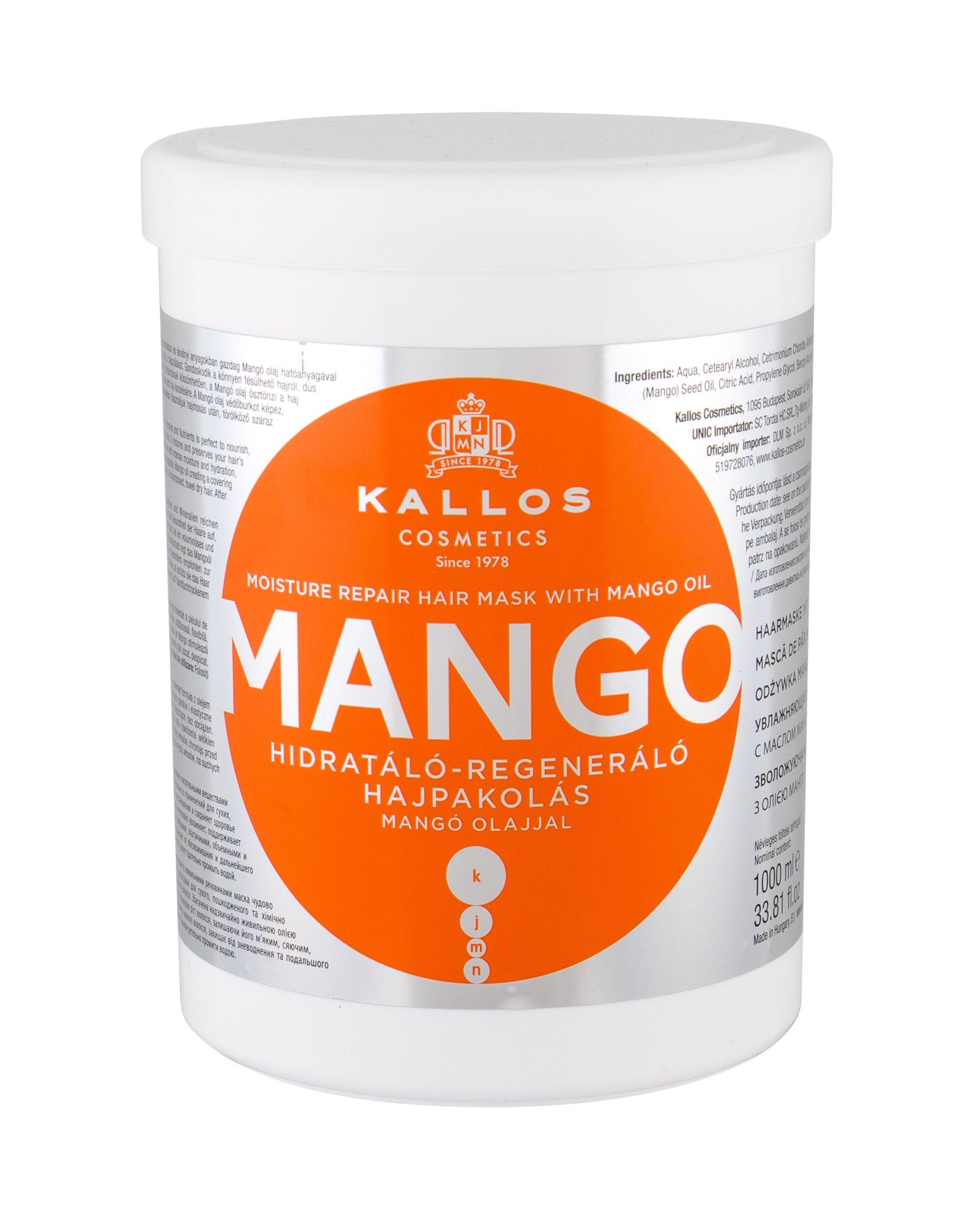 Kallos Cosmetics Mango Hair Mask 1000ml