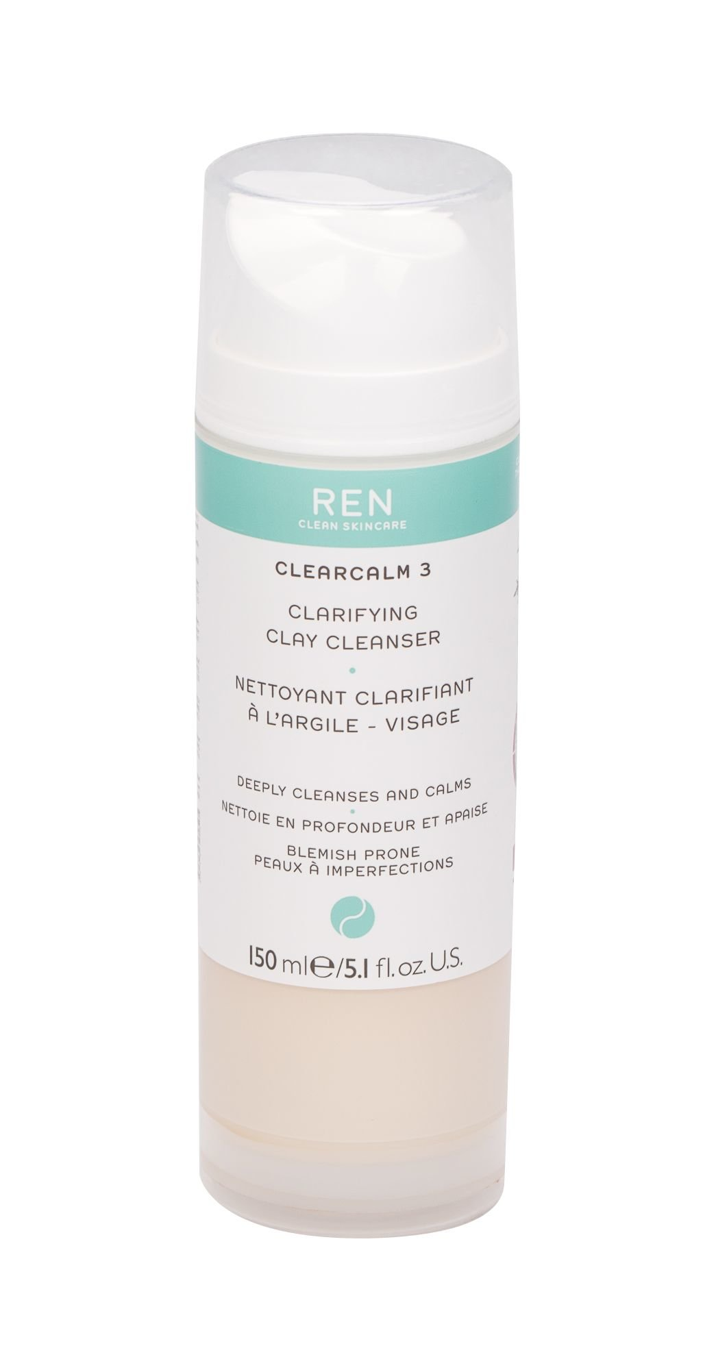Ren Clean Skincare Clearcalm 3 Cleansing Gel 150ml  Clarifying Clay Cleanser